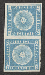 Uruguay: 1858 120 centavos blue, an unused tête-bêche pair.